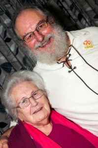 Sandy Clark age 70 with his mother